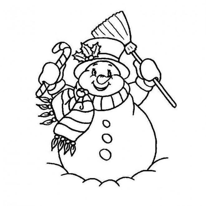 Coloriage et dessins gratuits Bonhomme de Neige souriant à imprimer