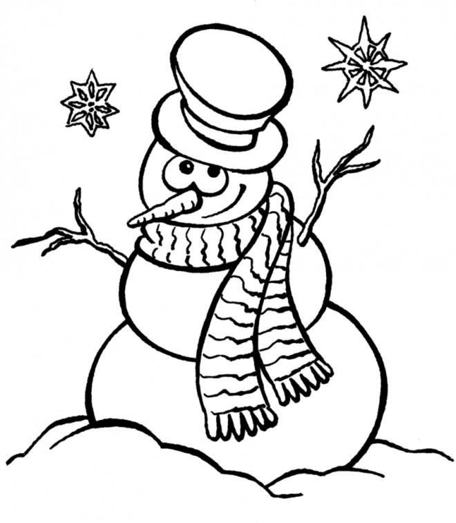 Coloriage bonhomme de neige sous les flocons dessin gratuit imprimer - Bonhomme de neige a imprimer gratuit ...