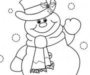 Coloriage et dessins gratuit Bonhomme de Neige te salue à imprimer