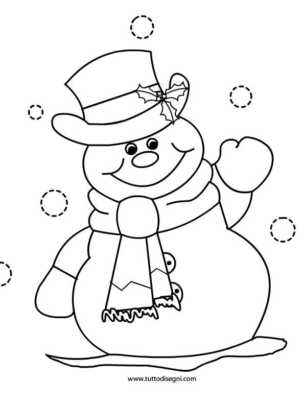 Coloriage et dessins gratuits Bonhomme de Neige te salue à imprimer