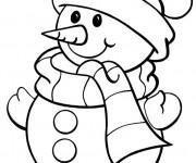 Coloriage et dessins gratuit Bonhomme de Neige vectoriel à imprimer