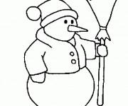 Coloriage et dessins gratuit Bonhomme de Neige vêtu à imprimer