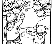 Coloriage Enfants et Bonhomme de Neige