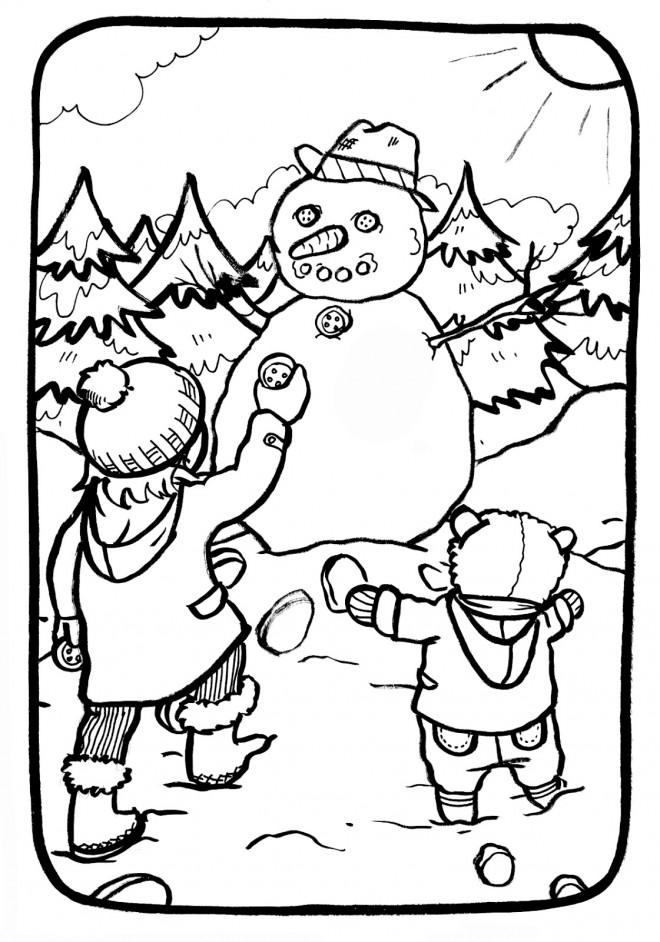 Coloriage Enfants Et Bonhomme De Neige Dessin Gratuit à Imprimer
