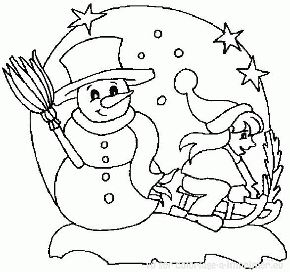 Coloriage et dessins gratuits Fille s'amuse avec le Bonhomme de Neige à imprimer
