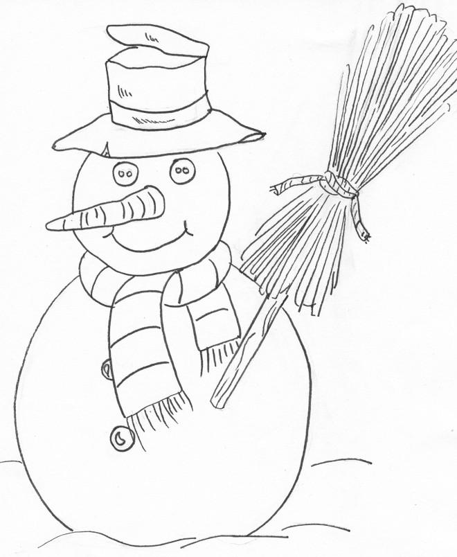 Coloriage et dessins gratuits Homme de Neige maternelle à décorer à imprimer
