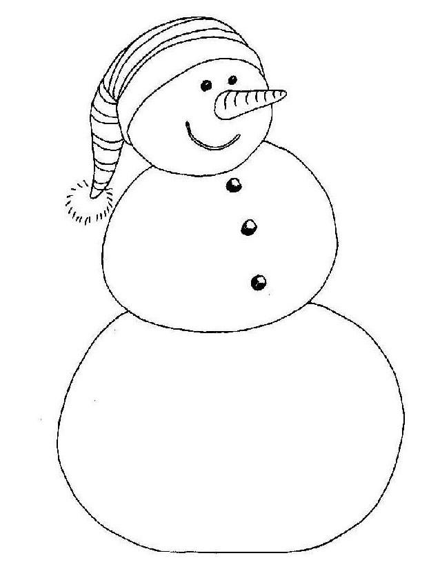 Coloriage et dessins gratuits Homme de Neige qui porte un bonnet à imprimer