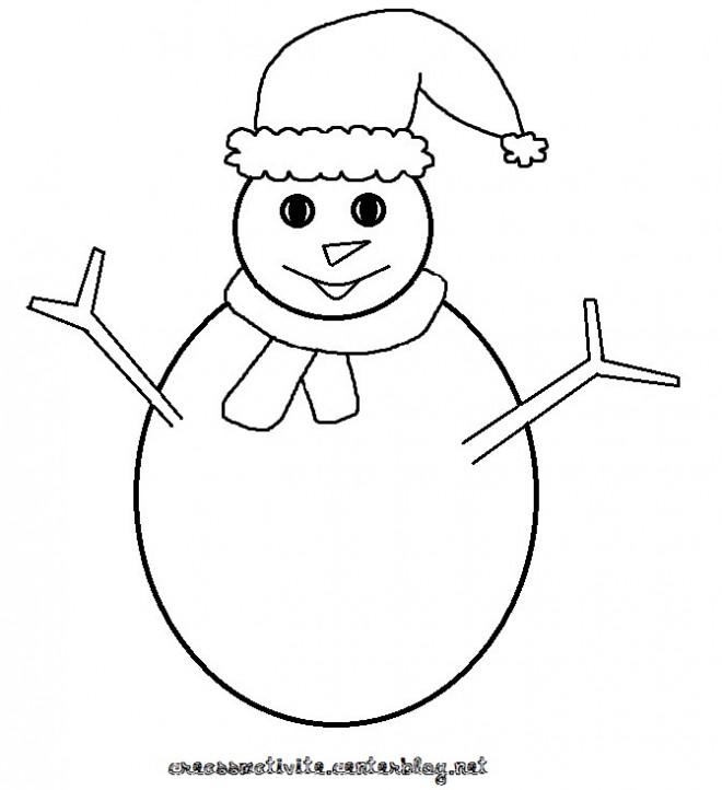 Coloriage et dessins gratuits Homme de Neige simplifié à imprimer