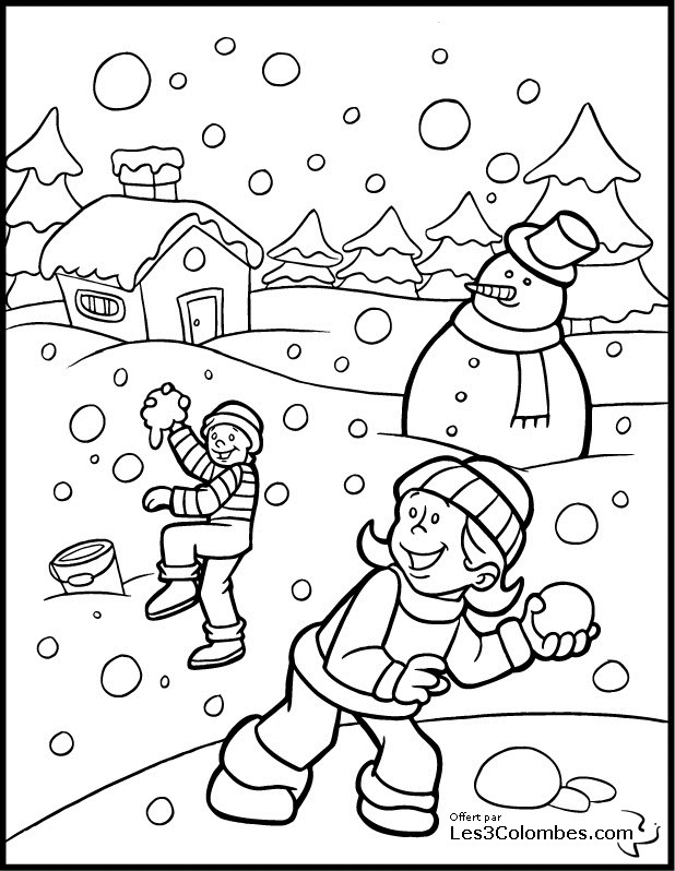 Coloriage et dessins gratuits Les Petits jouent autour de Bonhomme de Neige à imprimer