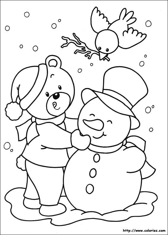 Coloriage et dessins gratuits Ours décore Le Bonhomme de Neige à imprimer
