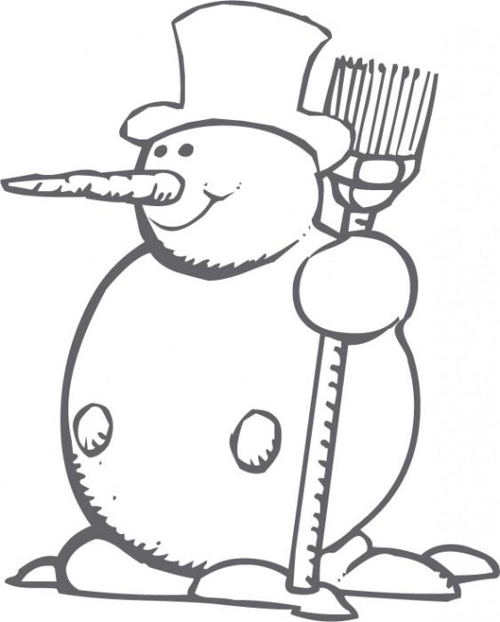 Coloriage Personnage de Bonhomme de Neige dessin gratuit à imprimer