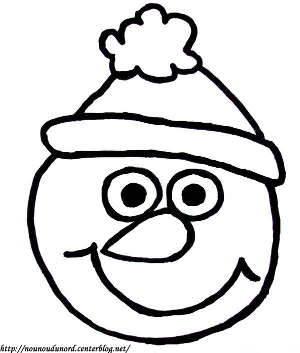 Coloriage et dessins gratuits Tête de Bonhomme de Neige à imprimer