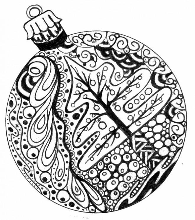 Coloriage et dessins gratuits Boule de Noel Anti-Stress à imprimer