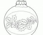 Coloriage Boule de Noel décoré facilement