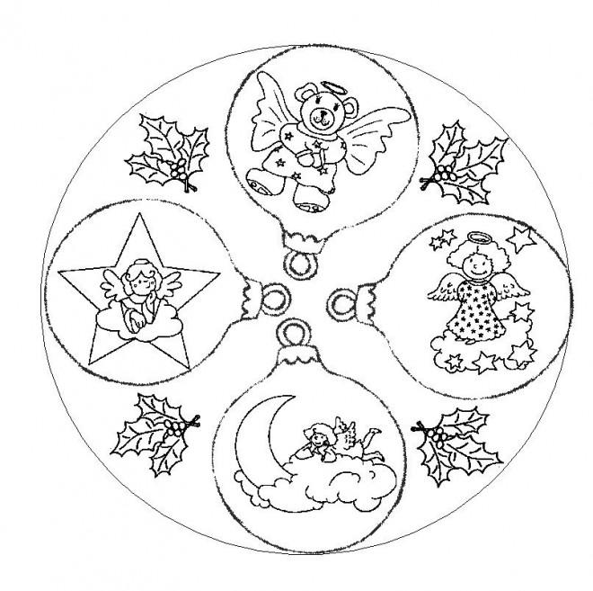 Coloriage boule de noel et les anges dessin gratuit imprimer - Coloriage de mandala de noel ...