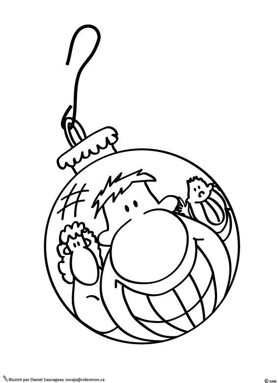 Coloriage et dessins gratuits Boule de Noel humoristique à imprimer