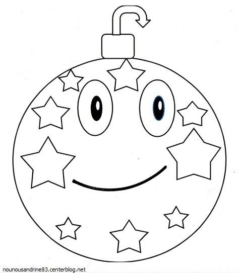 Coloriage et dessins gratuits Boule de Noel souriante à imprimer