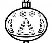 Coloriage Boule de Noel stylisé à découper