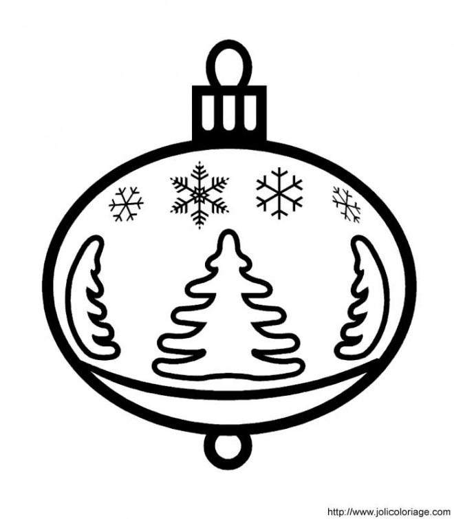Coloriage et dessins gratuits Boule de Noel stylisé à découper à imprimer