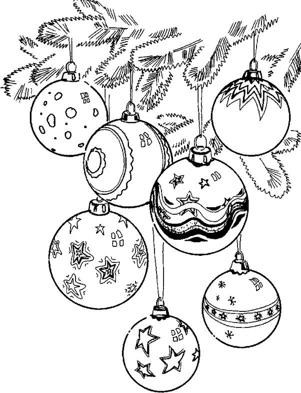 Coloriage Boules De Noel Magnifiques Dans Le Sapin