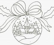 Coloriage Paysage de Noel sur Une Boule