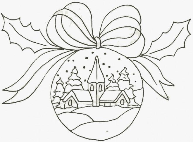 Coloriage Paysage de Noel sur Une Boule dessin gratuit à imprimer