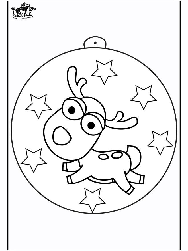 Coloriage et dessins gratuits Renne dessiné sur La Boule de Noel à imprimer