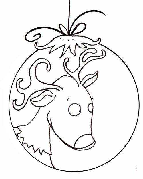 Coloriage et dessins gratuits Renne sur Boule de Noel facile à imprimer
