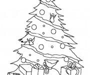 Coloriage sapin de Noël décoré