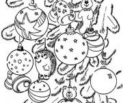 Coloriage Sapin de Noel décoré avec Les Boules