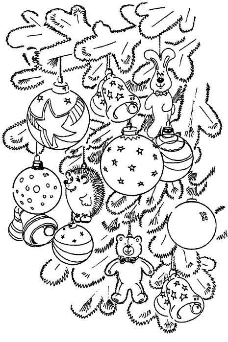 Coloriage et dessins gratuits Sapin de Noel décoré avec Les Boules à imprimer