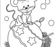 Coloriage Souris sur Boule de Noel