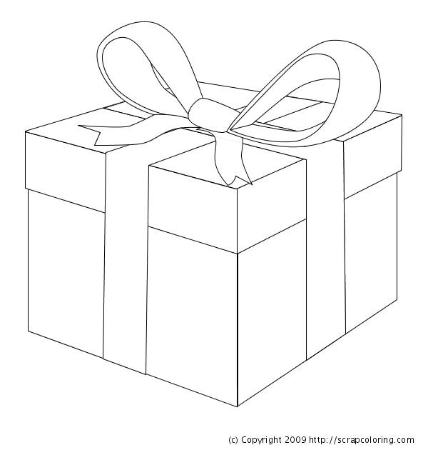 Coloriage et dessins gratuits Cadeau de Noel avec Noeud à imprimer