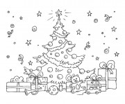 Coloriage Cadeau et Sapin de Noel