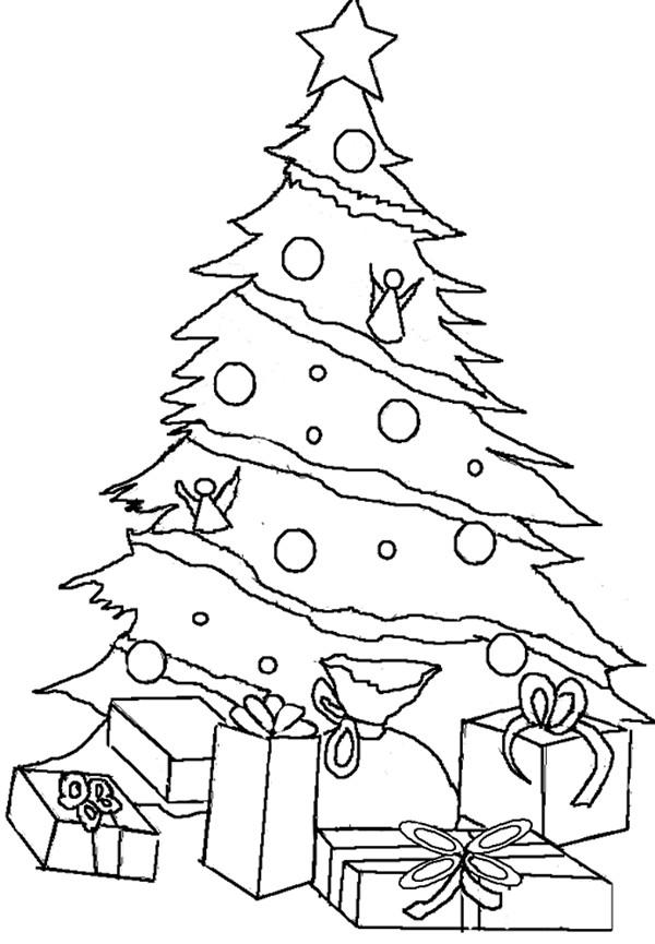 Coloriage et dessins gratuits Cadeaux de Noël à la Maison à imprimer