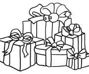 Coloriage Cadeaux de Noel en couleur