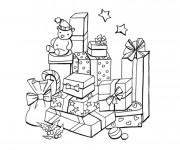 Coloriage Cadeaux de Noel en noir et blanc