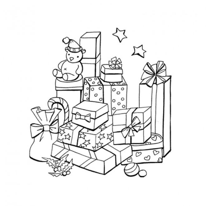 Coloriage et dessins gratuits Cadeaux de Noel en noir et blanc à imprimer