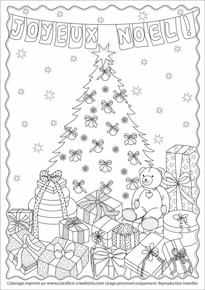Coloriage et dessins gratuits Cadeaux de Noel stylisé à imprimer
