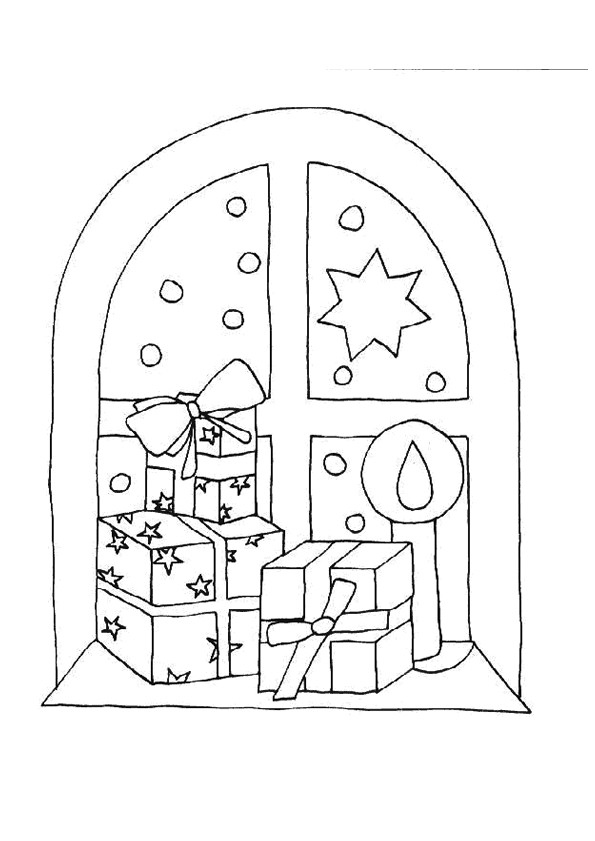 Coloriage Cadeaux De Noel Sur La Fenetre