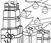 Coloriage Cadeaux de Père Noël pour enfant