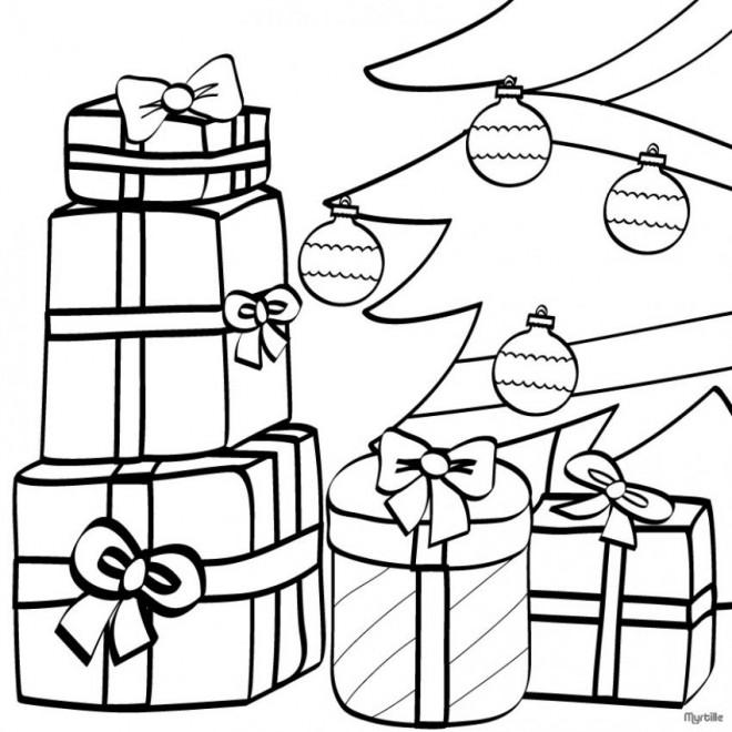 Coloriage et dessins gratuits Cadeaux de Père Noël pour enfant à imprimer
