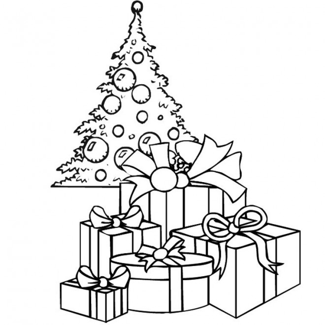 Coloriage cadeaux pour le noel dessin gratuit imprimer - Dessin de sapin de noel facile ...
