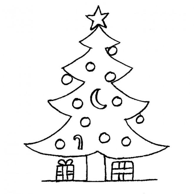Coloriage et dessins gratuits Cadeaux sous le Sapin de Noel à imprimer