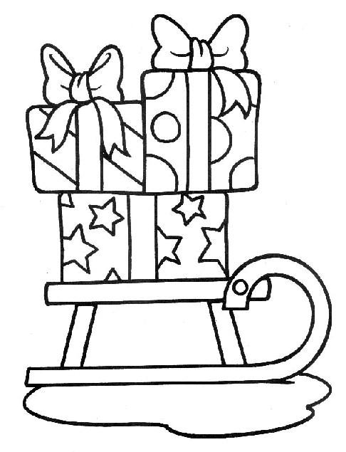 Coloriage et dessins gratuits Cadeaux sur Traîneau à imprimer