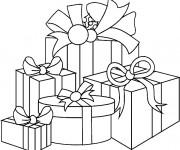 Coloriage Des Cadeaux de Noel à découper