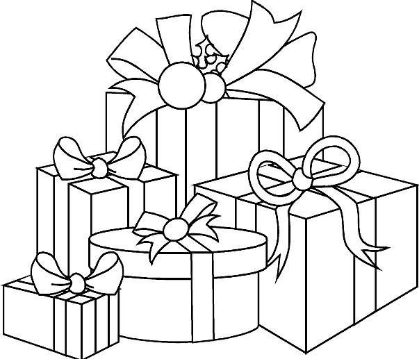 Coloriage et dessins gratuits Des Cadeaux de Noel à découper à imprimer
