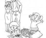 Coloriage Le Joie des enfants de leurs Cadeaux