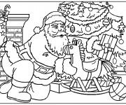 Coloriage Le Père Noël dépose des cadeaux sous le sapin