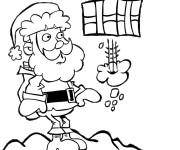 Coloriage Noel et Cadeau volant drôle